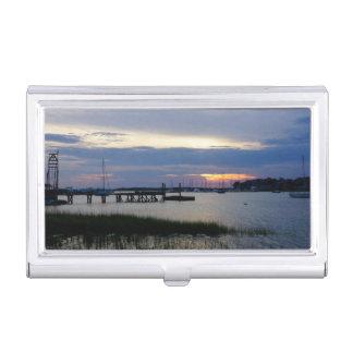 Folly Harbor Sunset Business Card Holder