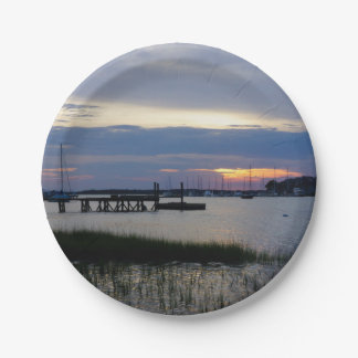 Folly Harbor Sunset Paper Plate