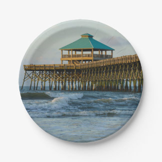 Folly Pier Morning 7 Inch Paper Plate