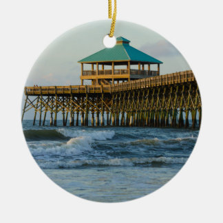 Folly Pier Morning Round Ceramic Ornament