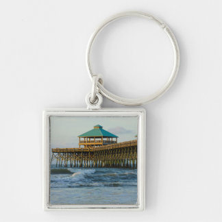 Folly Pier Morning Silver-Colored Square Keychain