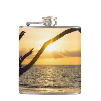 Folly Sunrise Tree Silhouette Hip Flask