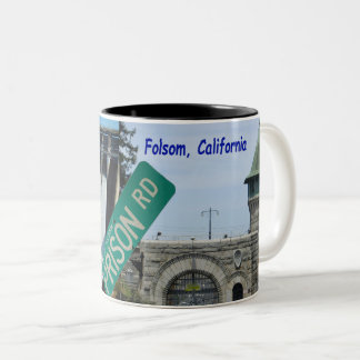 Folsom Icon: Folsom Dam and Prison 2 Two-Tone Coffee Mug