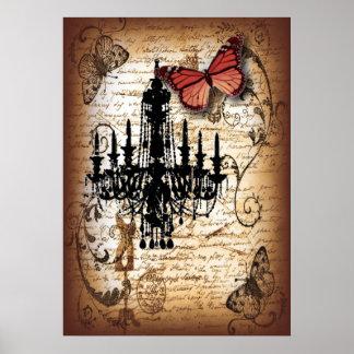 fondo vintage chandelier butterfly scripts poster