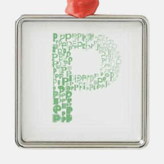 Font Fashion P Silver-Colored Square Ornament