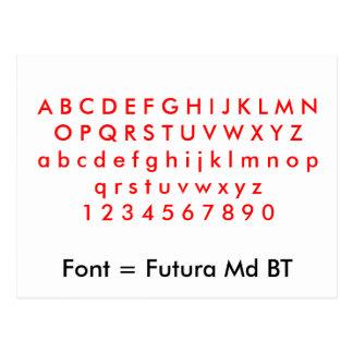 Font = Futura Md BT alphabet letters, digits Postcard