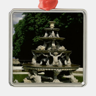 Fontaine de la Pyramide Silver-Colored Square Ornament