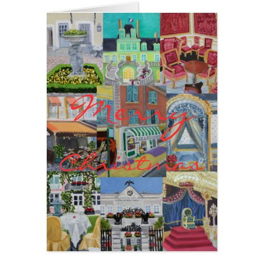 Fontainebleau Merry Christmas Collage Greeting Cards