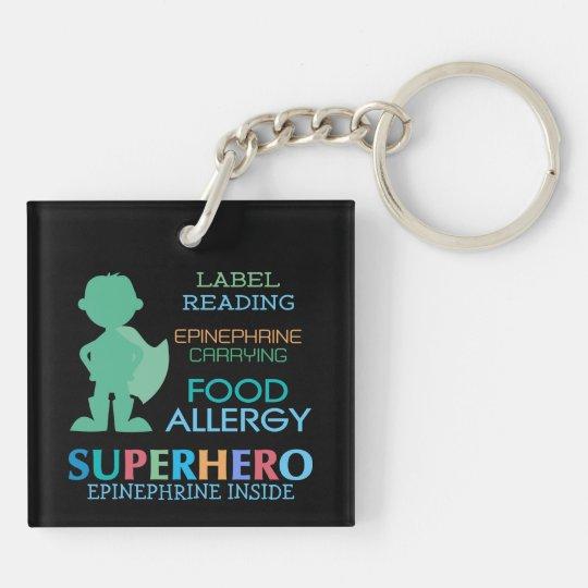 Food Allergy Boy Superhero Personalized Kids Double-Sided Square Acrylic Keychain