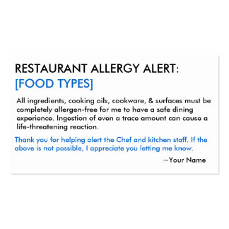Food Allergy Restaurant & ICE Card Pack Of Standard Business Cards
