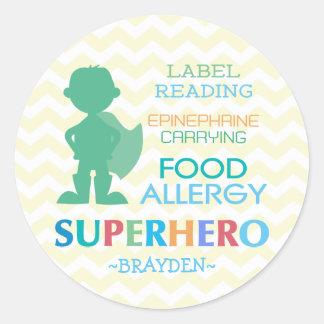Food Allergy Superhero Boy Stickers