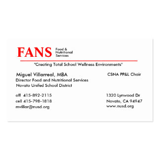Food and Nutritional Services Pack Of Standard Business Cards