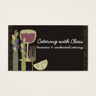 Food and wine asparagus chef catering biz cards