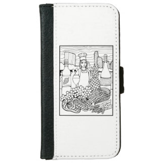 Food and Wine Festival Line Art Design iPhone 6 Wallet Case