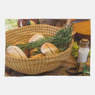 Food - Bread - Rolls and Rosemary Kitchen Towel