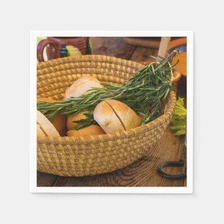 Food - Bread - Rolls and Rosemary Napkin