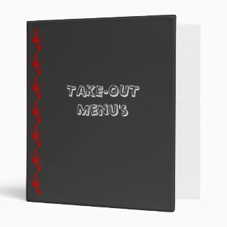 Food Delivery and Take-Out Menu Organizer Vinyl Binder