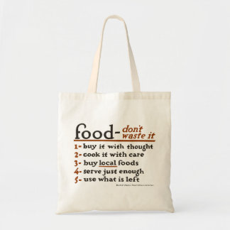"""Food—Don't Waste It"" Economy Grocery Tote Bag"