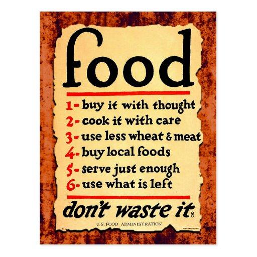 Food, don't waste it postcard