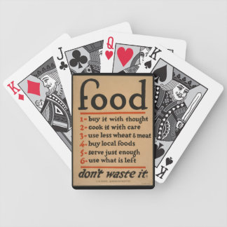 Food, Don't Waste It - Vintage War Poster Bicycle Playing Cards