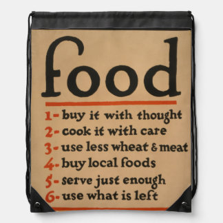 Food, Don't Waste It - Vintage War Poster Drawstring Bag