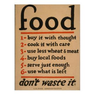 Food, Don't Waste It - Vintage War Poster Postcard