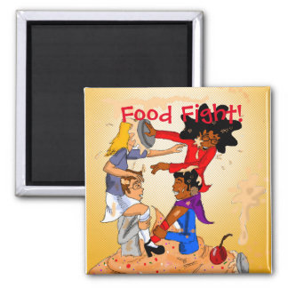 Food Fight Square Magnet