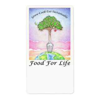 FOOD FOR LIFE - Grow, Cook, Eat Sustainable Shipping Label