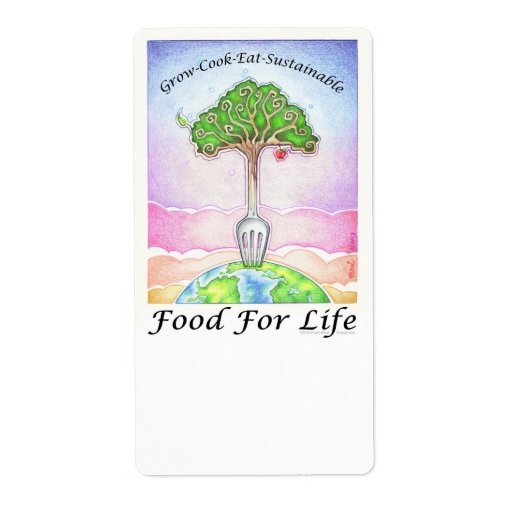 FOOD FOR LIFE - Grow, Cook, Eat Sustainable Shipping Labels