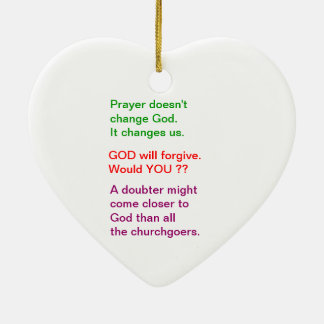 Food for thought : Practical Wisdom Words Ceramic Heart Ornament