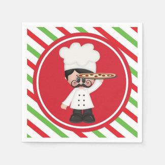 Food fun Italian chef pizza serving napkins