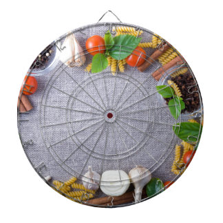 Food ingredients are installed as a frame dartboards