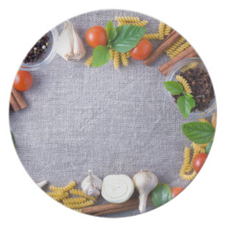Food ingredients are installed as a frame dinner plates