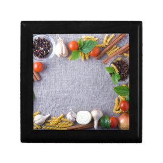Food ingredients are installed as a frame gift box