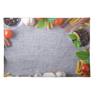 Food ingredients are installed as a frame placemat