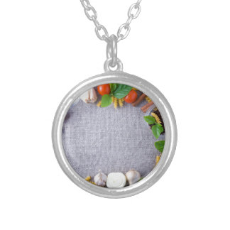 Food ingredients are installed as a frame silver plated necklace