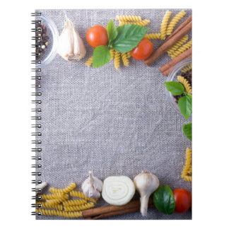 Food ingredients are installed as a frame spiral notebooks