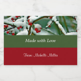 Food Label Template, Red Berries in the Snow