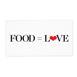 Food = Love Shipping Label