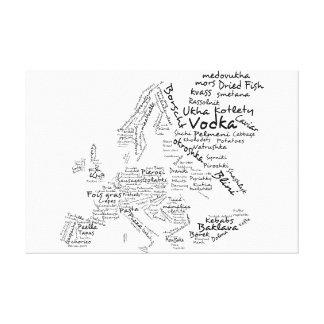 Food map of Europe - White Canvas Print