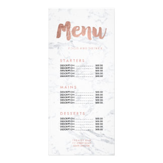 Food menu gold typography marble price list customized rack card