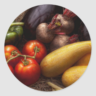Food - Peppers, Tomatoes, Squash and Turnips Classic Round Sticker
