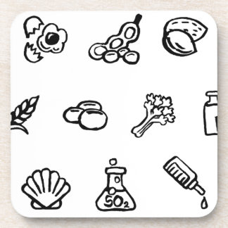 Food Safety Icons Watercolor Ink Brush Style Coaster