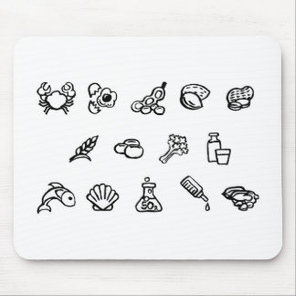 Food Safety Icons Watercolor Ink Brush Style Mouse Pad