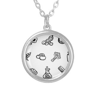 Food Safety Icons Watercolor Ink Brush Style Silver Plated Necklace