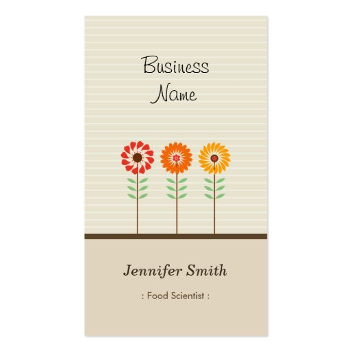 Food Scientist - Cute Floral Theme Business Card