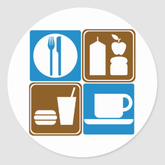 Food Services Highway Signs Collection Classic Round Sticker