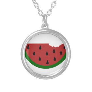 food slice fruit bitten watermelon silver plated necklace