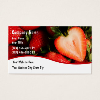 Food Strawberries Business Cards