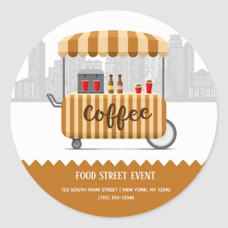 Food street cappuccino coffee classic round sticker